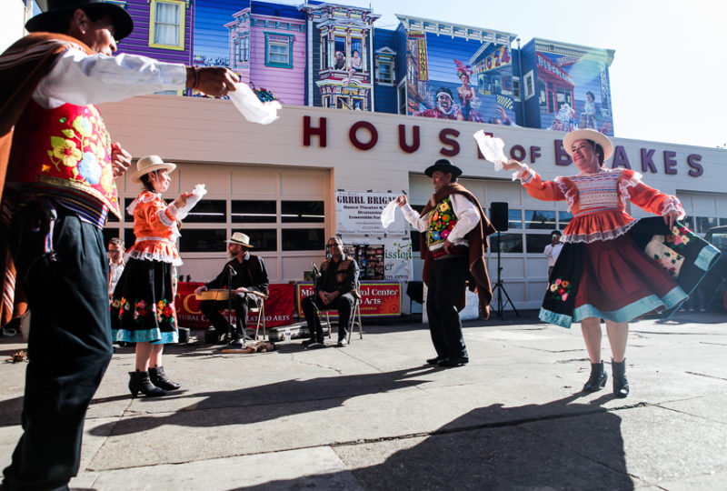 Valverde Dance Theatre performers dance in front of House of Bre