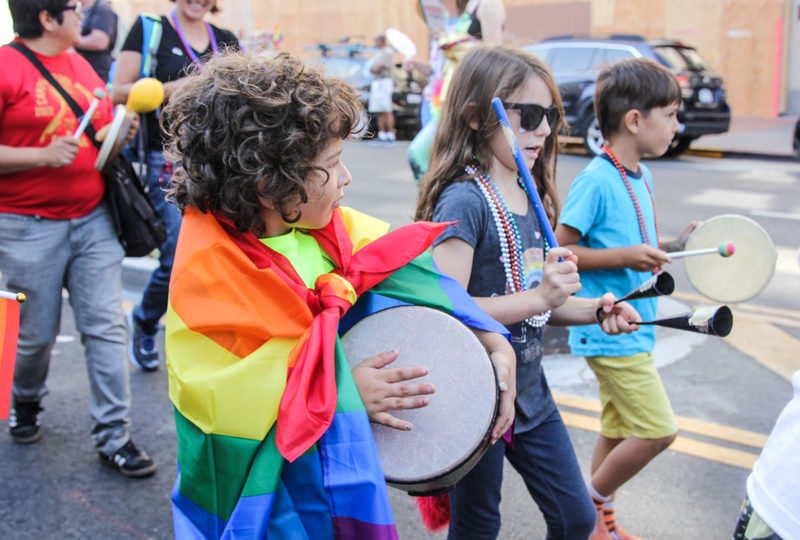 Children of Head Royce School play music as they enter the Oakland Pride Parade, Sep. 10th. Photo: Adelyna Tirado