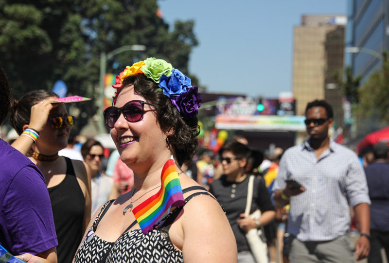 A woman in the crowd sports the LGBTQ colors at the Oakland Pride Festival, Sep. 10th. Photo: Adelyna Tirado
