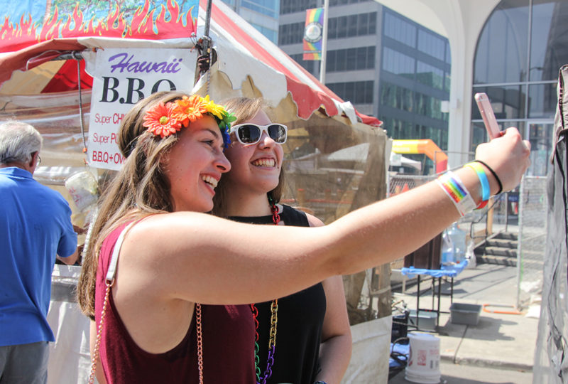 Alexandria Washburn and Victoria Swanson take a selfie at Oakland Pride Festival, Sep. 10th. Photo: Adelyna Tirado