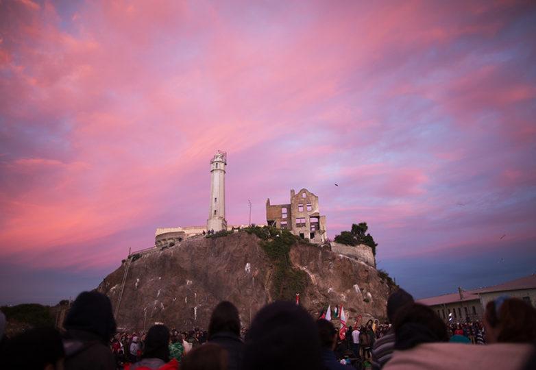 Indigenous People's Sunrise Ceremony at Alcatraz, Thursday, Nov. 23. Photo: Drago Rentería