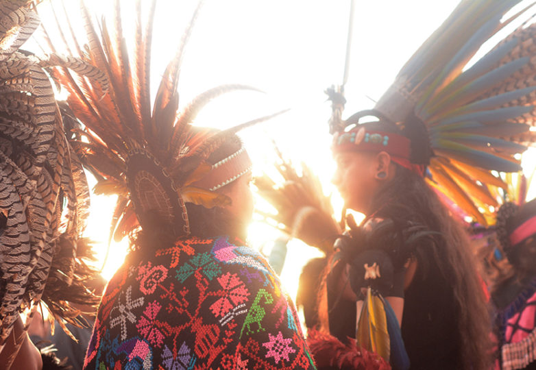 Participants get ready to perform a sacred dance during the Indigenous People's Sunrise ceremony at Alcatraz, Thursday Nov. 23, 2017. Photo: Aaron Levy-Wolins