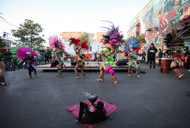 Mixcoatl Anahuac dancers perform during ReclaMisión: A Community Dia De Los Muertos Celebration at the Mission Preparatory School, Thursday, Nov. 2, 2017. Photo: Ekevara Kitpowsong