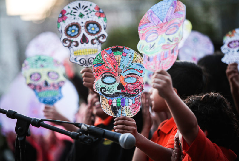 Entertainers perform on stage during ReclaMisión: A Community Dia De Los Muertos Celebration at the Mission Preparatory School, Thursday, Nov. 2, 2017. Photo: Ekevara Kitpowsong