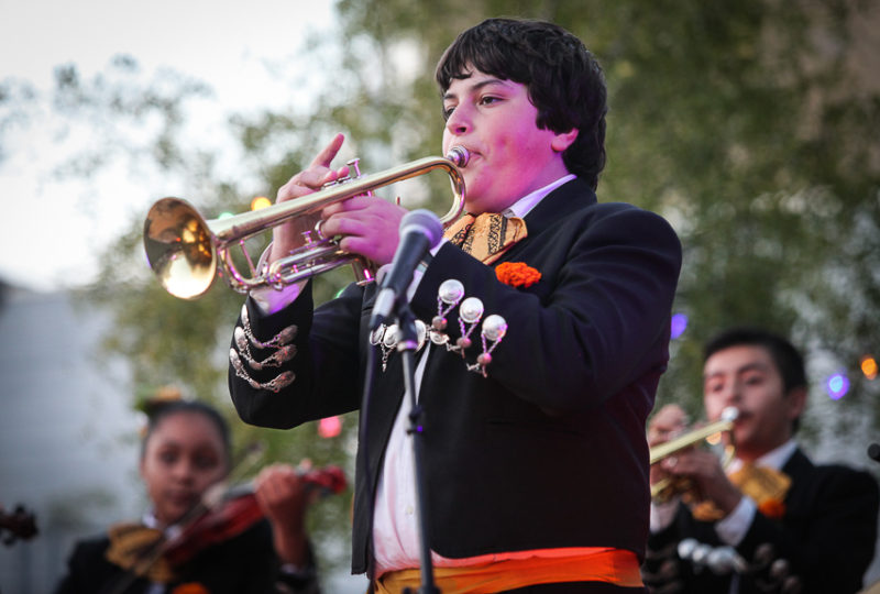 Mariachi Juvenil La Misión performs during ReclaMisión: A Community Dia De Los Muertos Celebration at Mission Preparatory School, Thursday, Nov. 2, 2017. Photo: Ekevara Kitpowsong