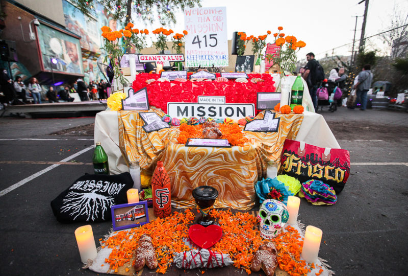 "An altar created by ""Mission Girlz"" dedicated  to the old Mission pre gentrification, at ReclaMisión: A Community Dia De Los Muertos Celebration at the Mission Preparatory School, Thursday, Nov. 2, 2017. Photo: Ekevara Kitpowsong"