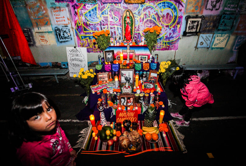 "The altar created by artist ""El Chavi"" dedicated to his brother Marvin Sampedro, displayed during ReclaMisión at the Mission Preparatory School, Nov. 2, 2017. Photo: Ekevara Kitpowsong"