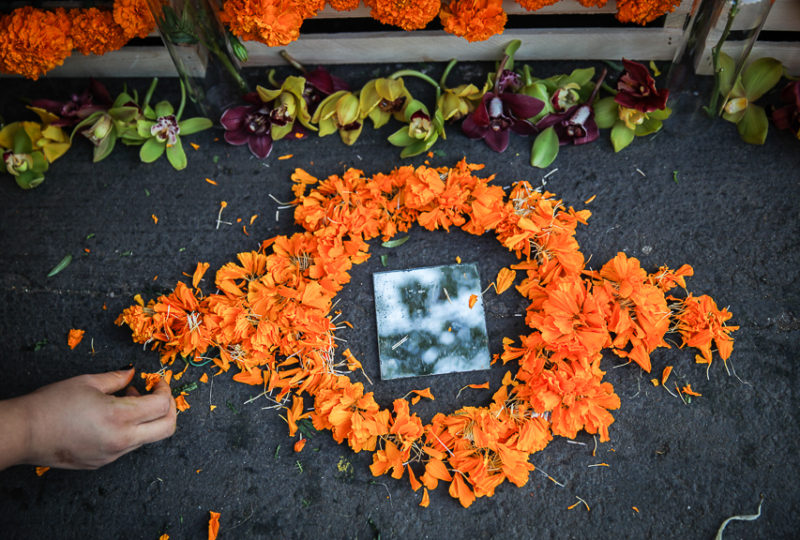 Artist Abi Hernandez lays flower petals in front of the altar she designed,  dedicated to Bertha Caceres and indigenous women, during the ReclaMisión: A Community Dia De Los Muertos Celebration at the Mission Preparatory School, Thursday, Nov. 2, 2017. Photo: Ekevara Kitpowsong