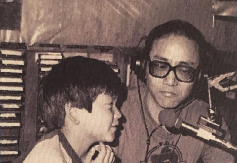 Equipto and his father, Art Sato, in the studio at KPFA's radio station, circa 1982. Via Instagram/@equipto