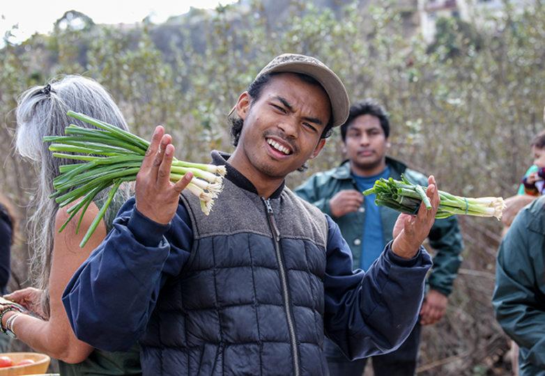 Arturo Savangsy de PODER posa con unas cebollitas en la Granja Comunitaria en el Parque Crocker-Amazon. Foto: Adelyna Tirado