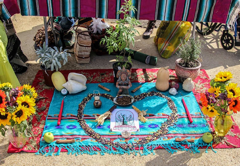 Indingeous symbolism and items formed together at the blessing of Community Farm Opening Celebration at Crocker Amazon Park, Nov. 12. Photo: Adelyna Tirado