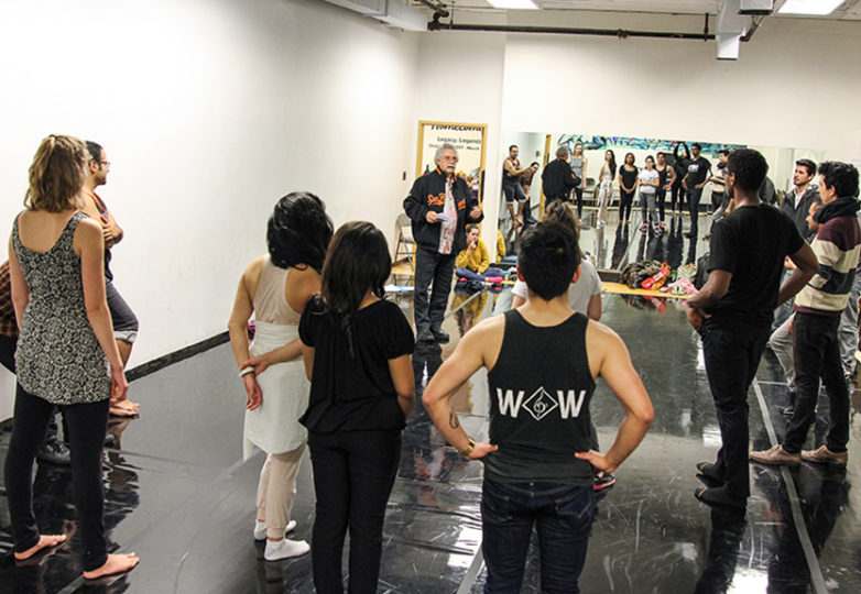 Carlos Baron meets the new cast of La Posarela for the first time at African American Art & Culture Complex in San Francisco, Calif. on Nov. 15. Photo: Adelyna Tirado