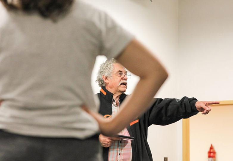 Carlos Baron, writer for this year's show of La Posarela, gives advice for their upcoming show at African American Art & Culture Complex in San Francisco, Calif. on Nov. 15. Photo: Adelyna Tirado