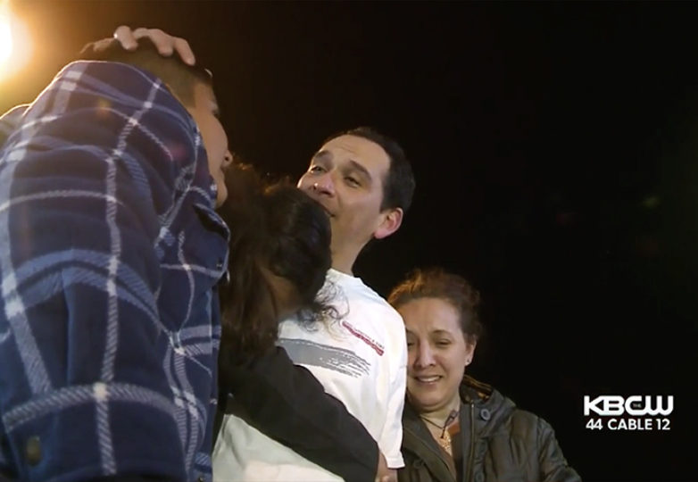 After being detained by ICE for more than six months, Hugo Mejia is reunited with his family on Nov. 21. Mejia, an undocumented immigrant who lives in San Rafael, was detained in May while going to work. Courtesy: KPIX 5