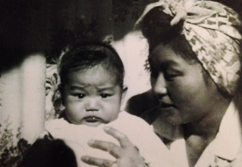 Art Sato and his mother Kimiye at the Amache incarceration camp in southeast Colorado, circa 1944. Courtesy: Art Sato