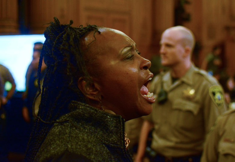 Asale Chandler, a supporter of acting mayor London Breed, reacts in anger after District 2 Supervisor Mark Farrell is nominated by six other supervisors to be interim mayor of San Francisco on Jan. 23, 2018. Photo: Aaron Levy-Wolins