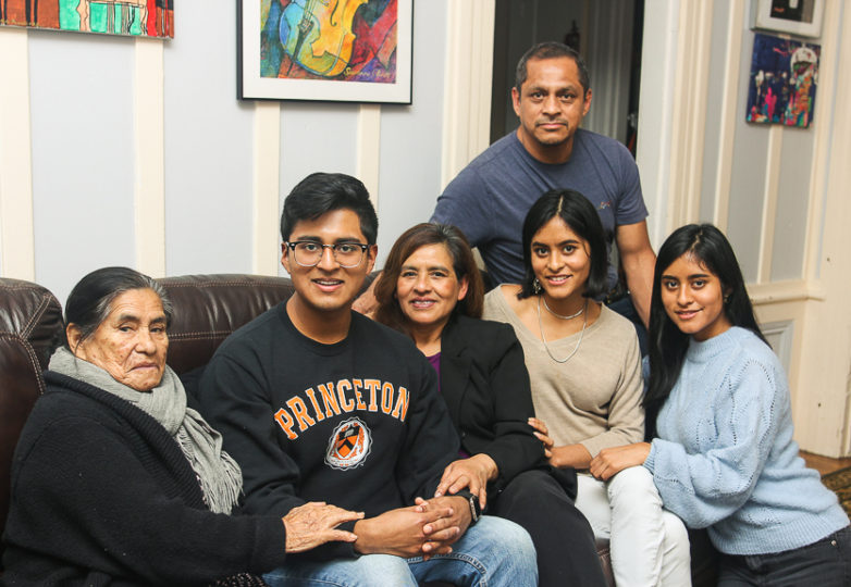 Sergio Martinez Jr. and his family pose for a portrait while on winter break from Princeton in his family home in San Francisco on Jan. 4, 2018. Photo: Adelyna Tirado