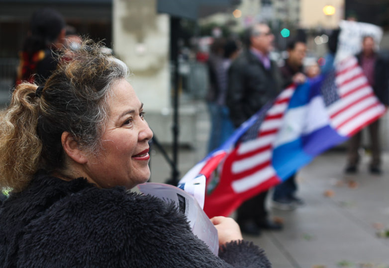 TPS holder Carmen Guardado, who fled domestic violence in her native El Salvador 23 years ago, attends a Save TPS rally in front of the San Francisco Federal Building on Jan. 5, 2018. Photo: Alexis Terrazas