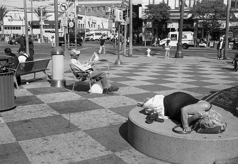 """Asleep."" 16th & Mission streets, 2008. Photo: Ted Pushinsky"