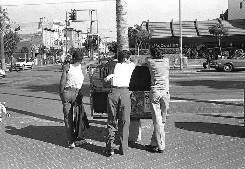 """Backs."" 24th & Mission streets, 1982. Photo: Ted Pushinsky"