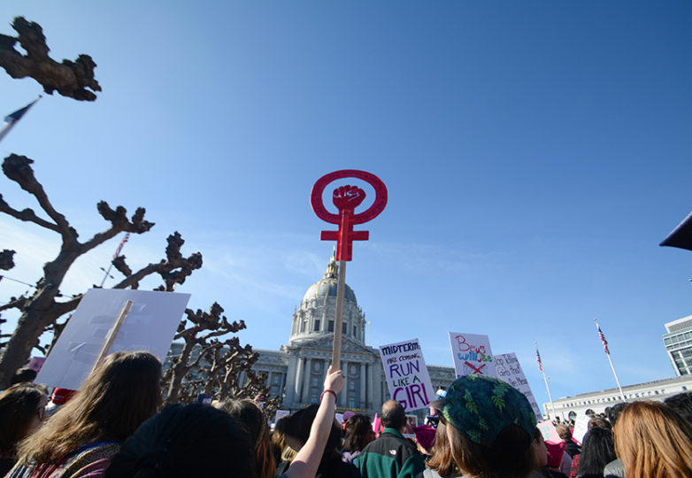 People gather at Civic Center Plaza to celebrate the second annual Bay Area Women's March in San Francisco, Jan. 20, 2018. Photo: Jocelyn Carranza
