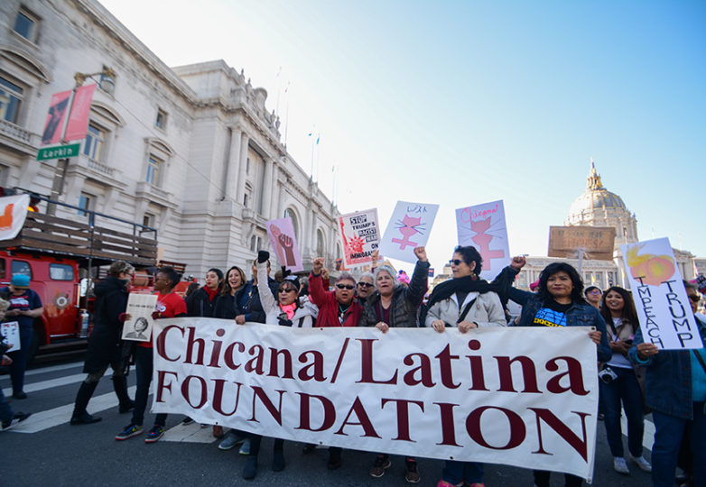 Members from the Chicana/Latina Foundation gather at the second annual Bay Area Women's March in San Francisco on Jan. 20, 2018. Photo: Jocelyn Carranza