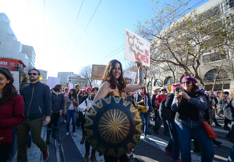 Larisa Roberts from Berkeley marches down Market Street wearing a Wonder Woman costume to celebrate the second annual Bay Area Women's March in San Francisco, Jan. 20, 2018. Photo: Jocelyn Carranza