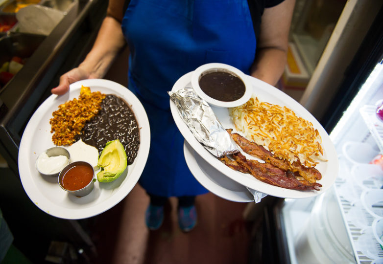 Two Latino dishes going out for brunch at Sunrise Restaurant, in San Francisco's Mission District, Feb. 17, 2018. Photo: Beth LaBerge