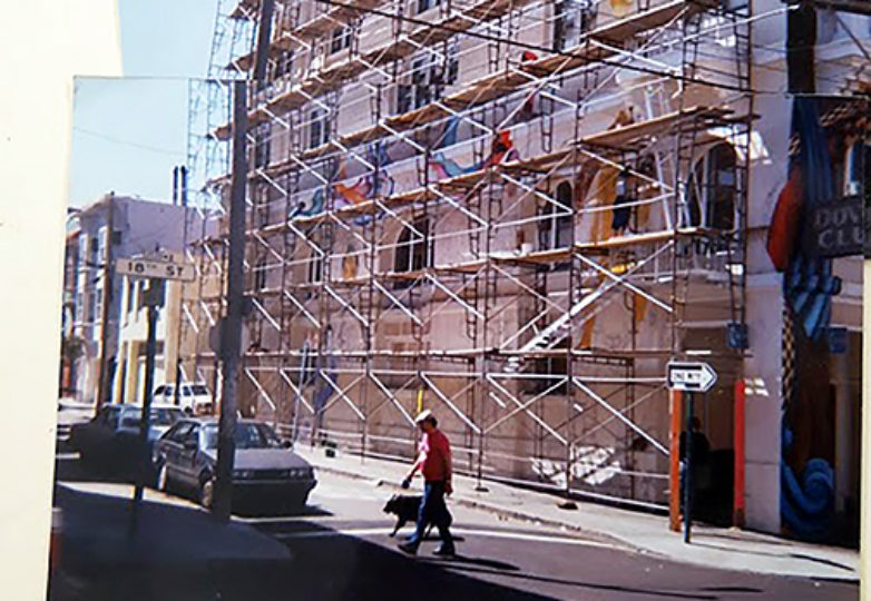 Scaffolding at the Women's Building in 1993, when the mural was started. Courtesy: Juana Alicia