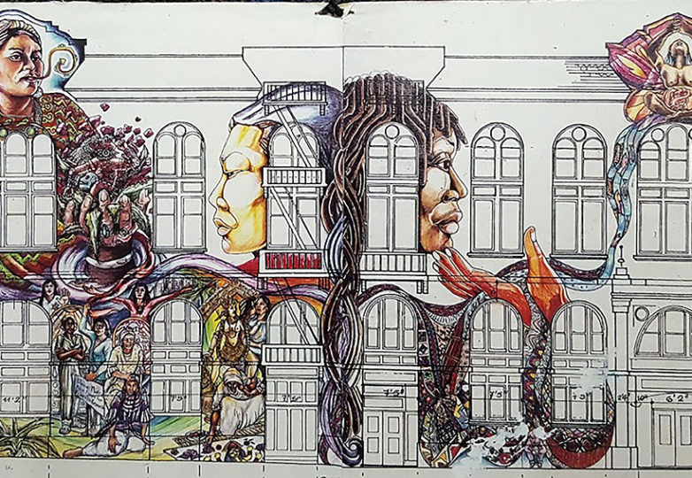 A sketch used during the planning of the Women's Building mural in 1993. Courtesy: Juana Alicia