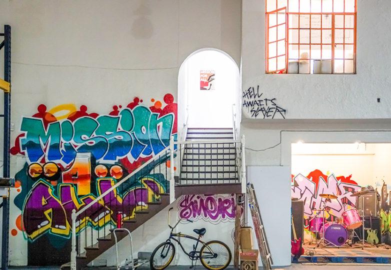 La sede de Misión para Todos, en la cual el evento de arte Hecho en la Bahía se llevó a cabo el 3 de marzo. Misión para Todos es una compañía de relaciones públicas creada por socios de la inmobiliaria Maximus Real Estate, la firma promotora detrás del proyecto el Monstruo en la Misión. Foto: Drago Rentería