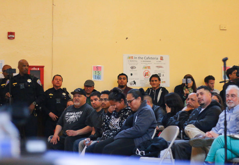 Visibly shaken family members react during a town hall meeting at Cesar Chavez Elementary School. Community members and police held a town hall to discuss the shooting of Delgado-Duarte, a 19 year-old man who was killed by SFPD officers in the Mission District on March 6, 2018. Photo: Erica Marquez