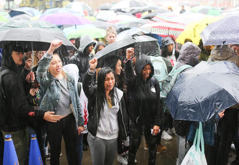 Alumnos de diversas escuelas del Distrito Escolar de San Francisco participaron en la huelga para exigir un estricto control de armas, el 14 de marzo de 2018. Foto: Gino Abrajano
