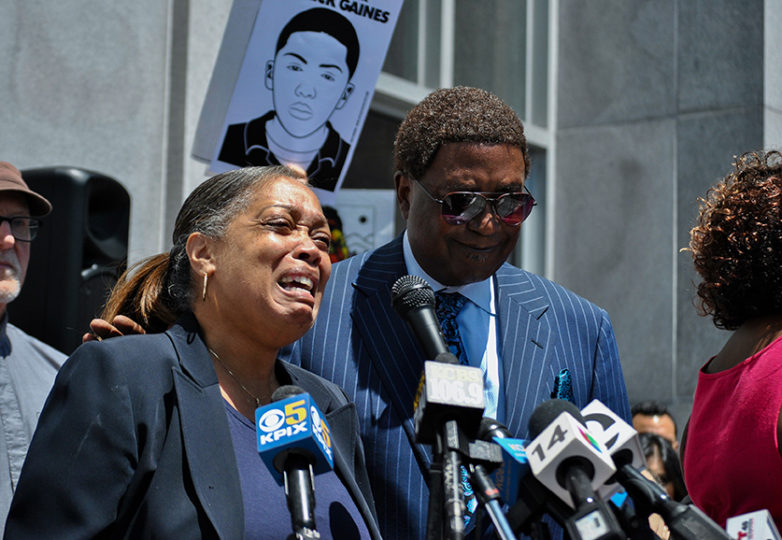 Gwen Woods, Mario Woods' mother, cries as she denounces District Attorney George Gascón's decision to not charge the SFPD officers who killed her son in 2015. Following Gascón's decision, Gwen Woods addressed the media on May 29 alongside her attorney John Burris in front of the Hall of Justice in San Francisco. Photo: Alejandro Galicia Diaz