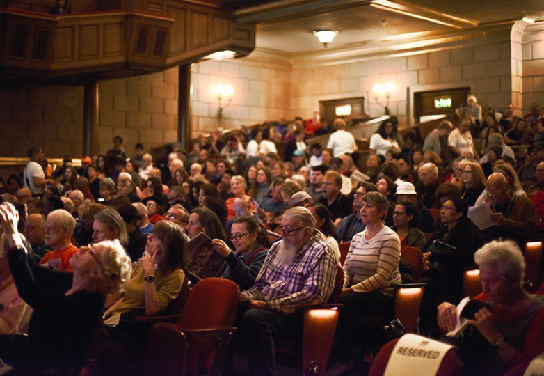 Approximately 900 San Francisco residents listen attentively to San Francisco mayoral candidates Angela Alioto, London Breed, Jane Kim and Mark Leno at Herbst Theatre as they discuss how they would better address issues regarding seniors and the disabled community, April 26, 2018. Photo: Alejandro Galicia Diaz