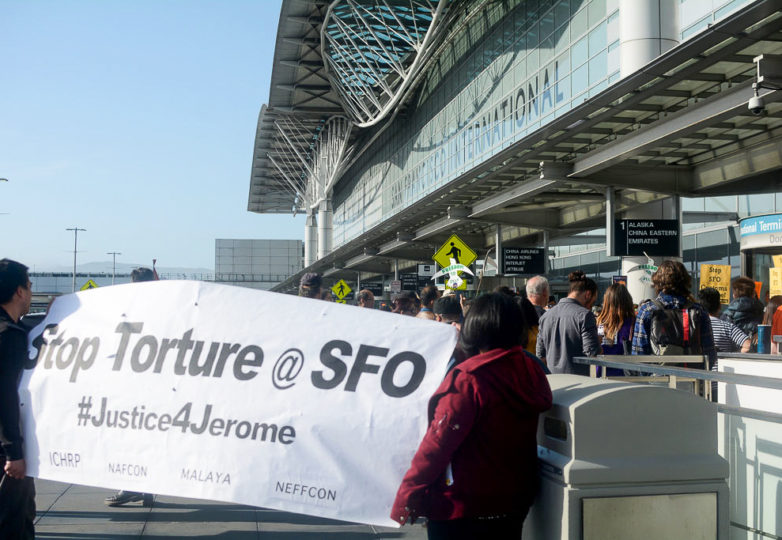 A protest against the alleged torture and the deportation of Jerome Aba from San Francisco International Airport on Monday, April 23, 2018. Photo: Aaron Levy-Wolins