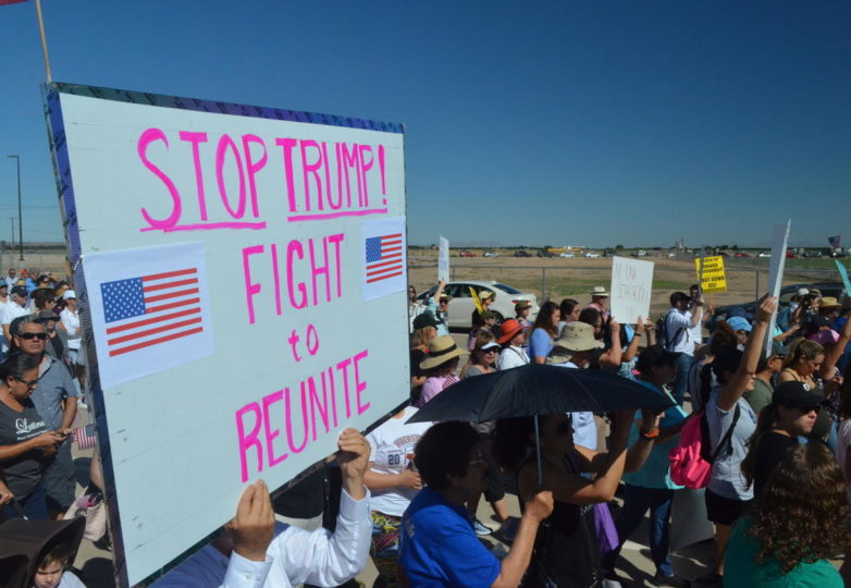 Protesters marched on the tent encampment at Tornillo Port of Entry near El Paso on Father's Day. (Carlos Morales/Marfa Public Radio)