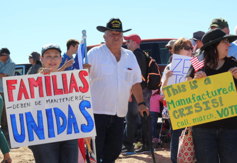 Protesters against family separations at the border gathered at Tornillo Port of Entry near El Paso on Father's Day. (John Sepulvado/KQED)