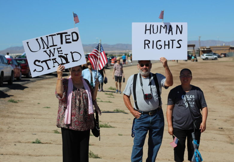 "More than 2,000 people are estimated to have gathered at the Tornillo Port of Entry near El Paso on Father's Day to protest the Trump administration's ""zero tolerance"" policy. (John Sepulvado/KQED)"