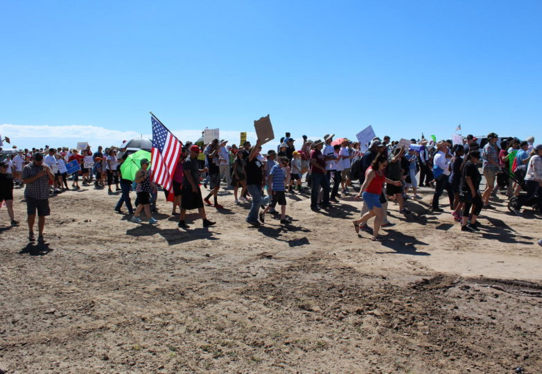 More than 2,000 were estimated to have marched on the tent encampment at Tornillo Port of Entry near El Paso on Father's Day. (Sally Beauvais/Marfa Public Radio)