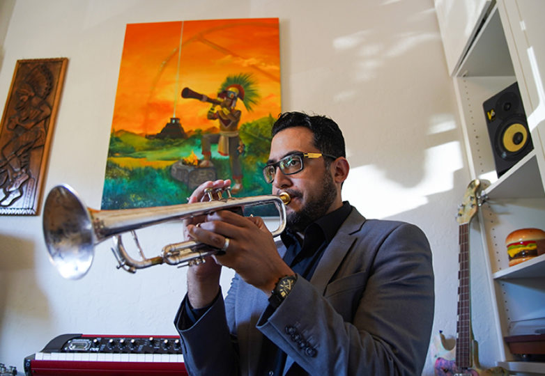 Grammy Award-winning jazz musician Mario Alberto Silva poses for a portrait at his home in San Francisco on Aug. 6, 2018. Photo: Kyler Knox