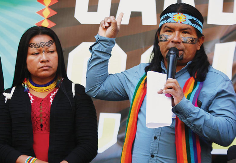 Marlon Santi, a leader of the Kichwa Indigenous People of Sarayaku, and national coordinator of Pachakutik, Ecuador's indigenous political movement, on Sept. 10, 2018 in San Francisco. Courtesy: Ayşe Gürsöz