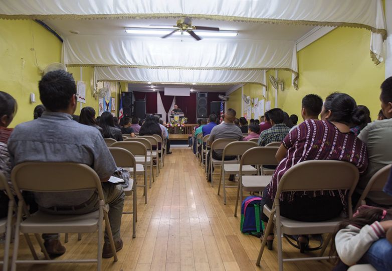 Mam community members gather at an evening service at Iglesia de Dios in Oakland on Aug. 31, 2018. Photo: Mark Jason Quines