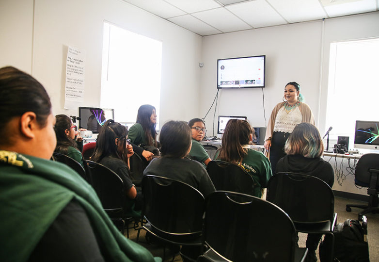 "Victoria Fajardo leads a group of young girls in a class during a ""Girls on the Mic"" session for Women's Audio Mission at the Unity Center in Fruitvale, Oakland on Aug. 29, 2018. Photo: Adelyna Tirado"