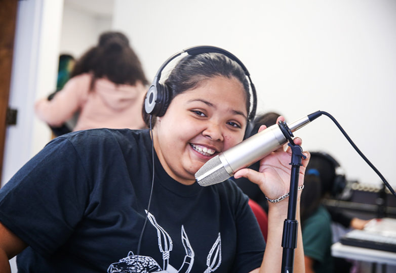 "Citlali Cervantez poses for a portrait during a ""Girls on the Mic"" class hosted by Women's Audio Mission (WAM) on Aug. 29, 2018. Photo: Adelyna Tirado"