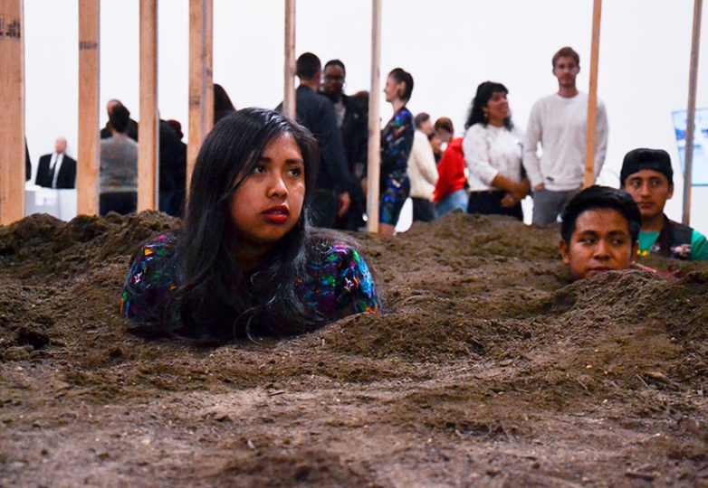 "Students from Fremont High School Newcomers Program perform inside artist Caleb Duarte's installation ""Untitled (Urgent Art IV)"" during the opening reception of ""Bay Area Now 8,"" a group exhibition at Yerba Buena Center for the Arts, on Sept. 7, 2018. Photo: Mabel Jiménez"