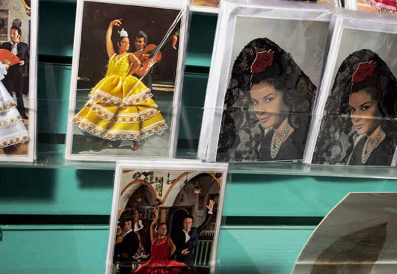 Flamenco postcards for sale seen in Casa Bonampak on Oct. 12, 2018. Photo: Dane Pollok