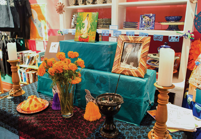 An altar built by participants during a Día de los Muertos workshop is seen inside Casa Bonampak on Oct. 13, 2018. Photo: Lara Kaur