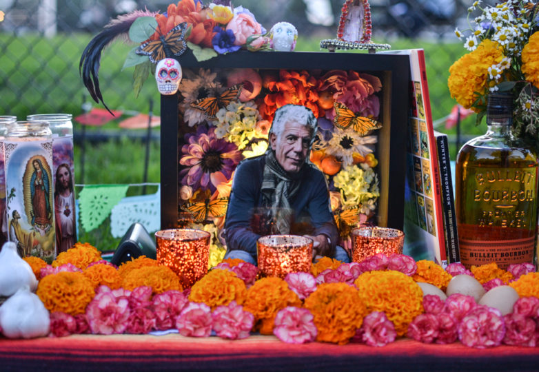 An altar for celebrity chef Anthony Bourdain is displayed at The Festival of Altars on Garfield Square during Día de Muertos in San Francisco's Mission district, Friday November 2, 2018. Photo: Mabel Jiménez/Calle 24