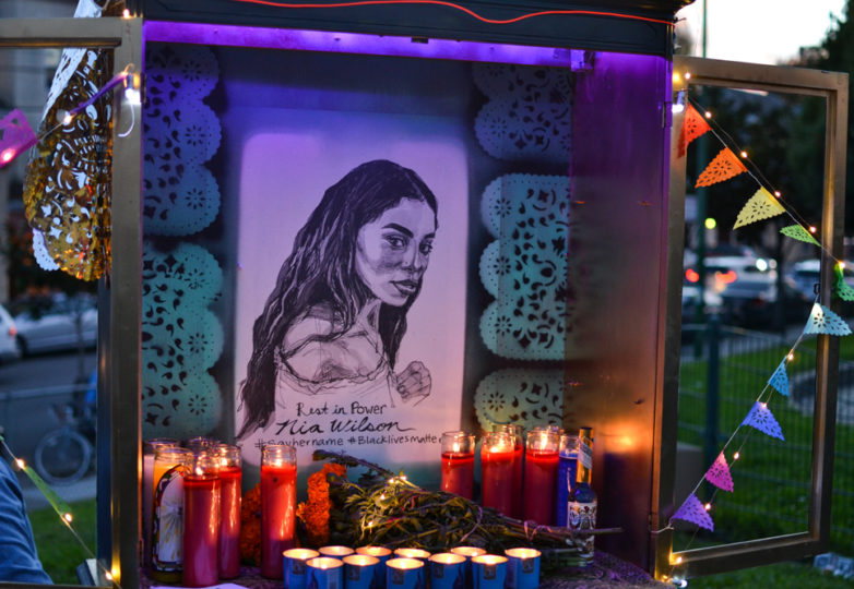 An altar for Nia Wilson is displayed at the Festival of Altars at Garfield Square during Dia de Muertos celebrations San Francisco's Mission district, Friday November 2, 2018. Photo: Mabel Jiménez/Calle 24